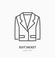 suit jacket flat line icon traditional clothing vector image vector image