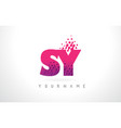 sy s y letter logo with pink purple color and vector image vector image
