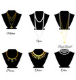 types of necklaces by length vector image vector image