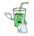 waiter green smoothie mascot cartoon vector image vector image