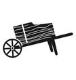 wood wheelbarrow icon simple style vector image vector image