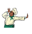 african cook chef gesture shame denial vector image