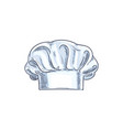 baker kitchener or chef cook hat isolated sketch vector image vector image