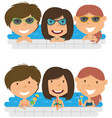 beautiful cheerful girls relaxing and drinking vector image vector image