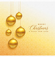 beautiful christmas golden balls hanging vector image