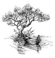 boat on water under the tree sketch wallpaper vector image