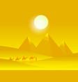 caravan camels with people in hot desert vector image