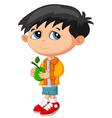 Cartoon boy holding green fruit vector image vector image