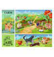 cartoon farm animals composition vector image vector image