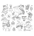 christmas cute animals lama sloth rabbit pig hand vector image vector image