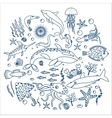 Concept Set of sea animals fish Outline line vector image vector image