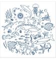 concept set sea animals fish outline line vector image vector image