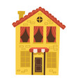 cute small yellow house with red tile roand vector image