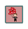 emblem man with wedding suit and red balloons vector image