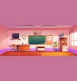 empty classroom with inscription welcome to school vector image vector image