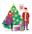 father and girl decorating tree gifts merry vector image vector image