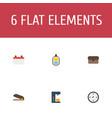 flat icons suitcase identification espresso vector image vector image