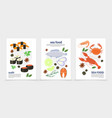 flat sea food posters vector image vector image