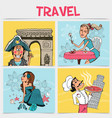 flat travel square concept vector image