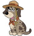 friendly dog in scout hat vector image