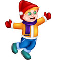funny boy in yellow sweater and red hat cartoon vector image vector image