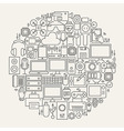 Gadgets and Devices Line Icons Set Circle Shape vector image vector image