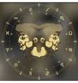Golden twins portrait zodiac Gemini sign vector image
