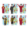 group of students graduated characters vector image