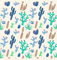 hand drawn cacti seamless pattern vector image vector image