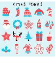 happy christmas icon set vector image vector image
