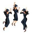 isometry of a graduate girl jumping is happy vector image vector image