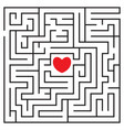 labyrinth with red heart vector image vector image