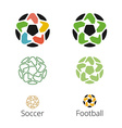 Logo with a soccer ball with hands like a star vector image vector image