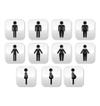 Man and women body type buttons - slim fat obese vector image