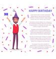 man celebrate birthday party flag cartoon person vector image vector image