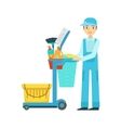 Man With Cart Filled With Special Equipment And vector image vector image