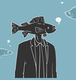 man with fish head caricature vector image vector image
