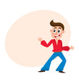man with forelock dancing at disco party in flare vector image vector image