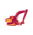 Mechanical Digger Excavator Woodcut vector image vector image