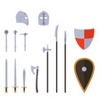 medieval weapons and armors set medieval warrior vector image vector image