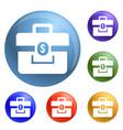 money case icons set vector image vector image