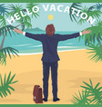 office worker standing on beach with open arms vector image vector image