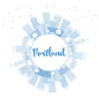 outline portland skyline with blue buildings and vector image vector image