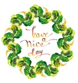 Peacock feathers wreath vector image