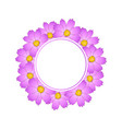 pink cosmos flower banner wreath vector image vector image