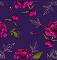 purple seamless pattern with peony flowers vector image