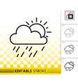 rain and sun simple black line icon vector image