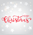 red christmas hand written lettering card vector image