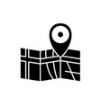 route on the map black icon sign on vector image