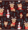 Seamless pattern with cute bunny and bear